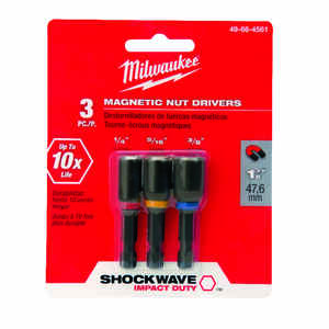 Milwaukee  SHOCKWAVE IMPACT DUTY  1/4 - 5/16 - 3/8 inch drive in.  x 1.875 in. L Heat-Treated Steel