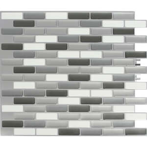 Peel and Impress  9.3 in. W x 11 in. L Gray  Multiple Finish (Mosaic)  Vinyl  Adhesive Wall Tile  4