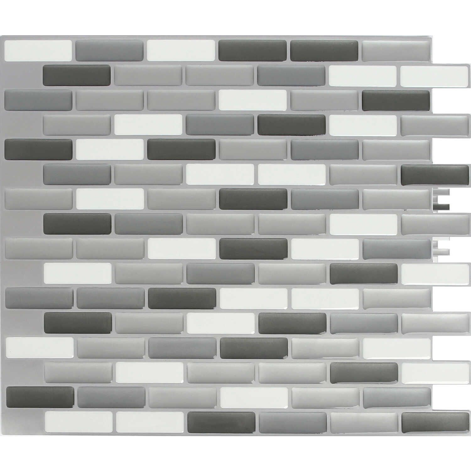Peel and Impress  9.3 in. W x 11 in. L Multiple Finish (Mosaic)  Vinyl  Adhesive Wall Tile  4 pc.