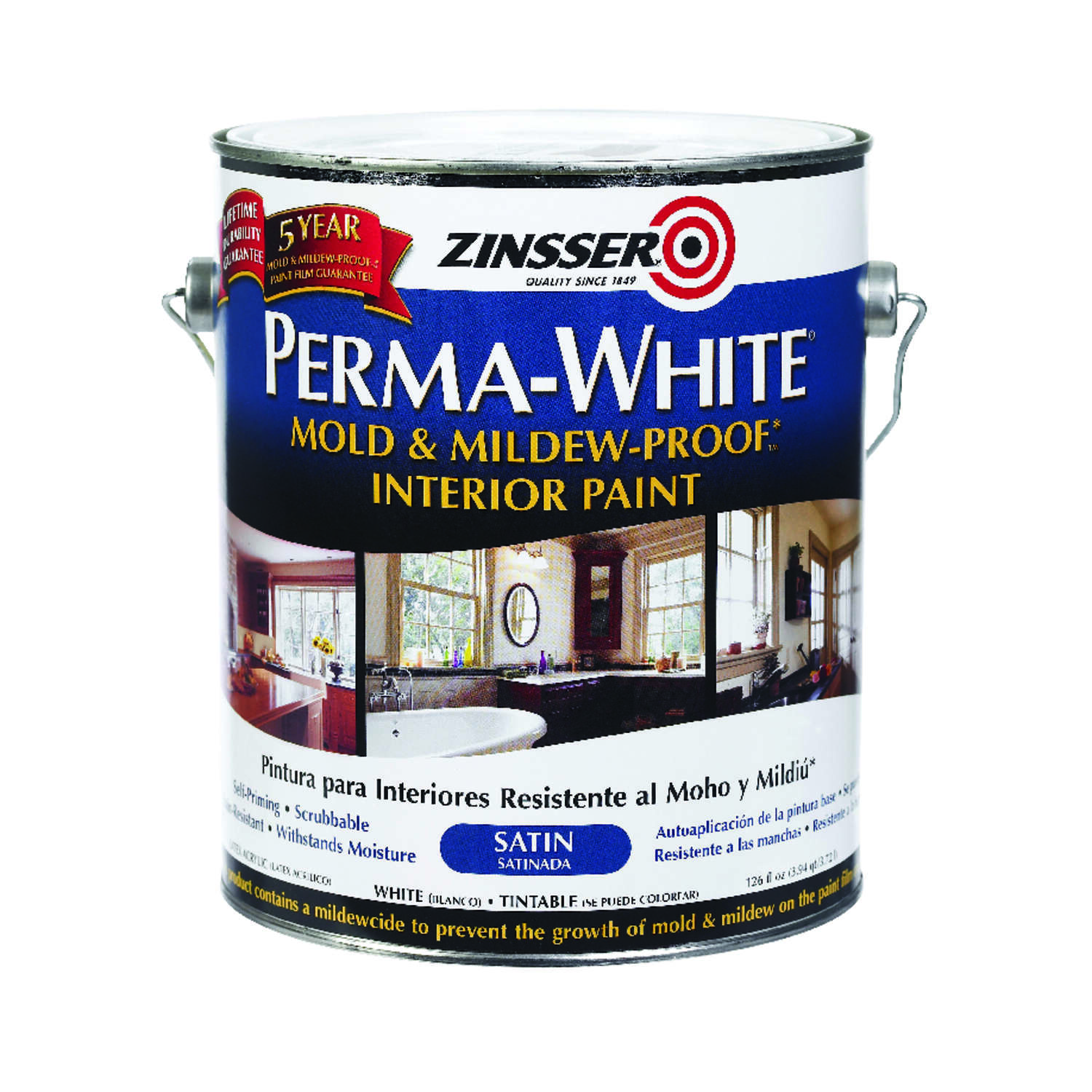 Zinsser  Perma-White  Satin  White  Water-Based  Mold and Mildew-Proof Paint  Indoor  1 gal.