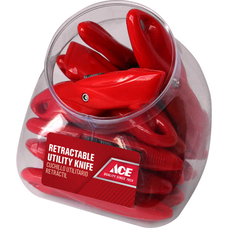 Ace  5 in. Red  1 pc. Utility Knife  Sliding