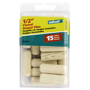 Wolfcraft  Fluted  Hardwood  Dowel Pin  1/2 in. Dia. x 1-1/2 in. L 15 pk Natural