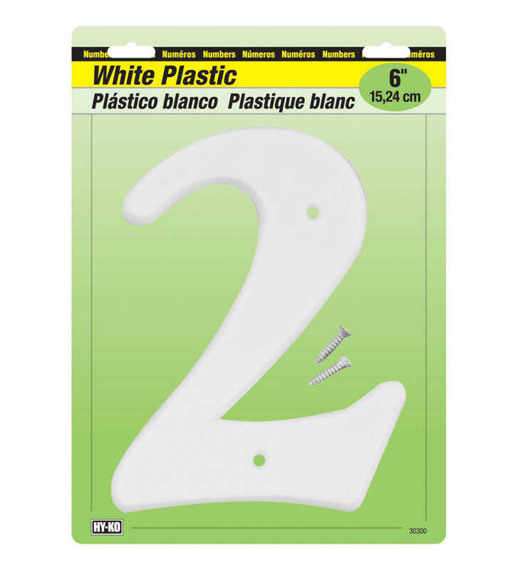 Hy-Ko  6 in. Plastic  White  Number  Nail On  2