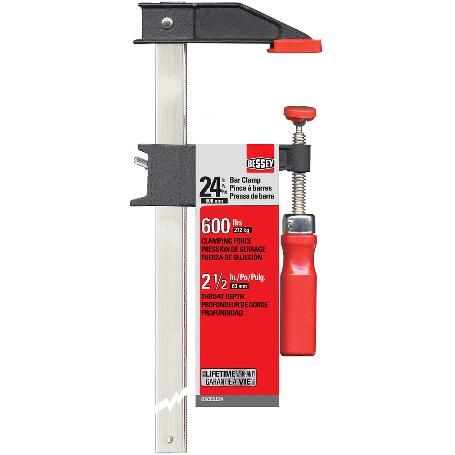 Bessey  24 in.  x 2.5 in. D Cast Iron/Steel  Bar Clamp  600 lb. 1 pk