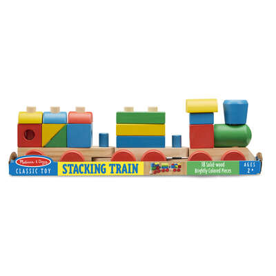 Melissa & Doug  Classic  Stacking Train Toddler Toy  Wood  Assorted  18 pc.