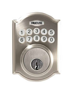 Faultless  Satin Nickel  Metal  Electronic Deadbolt  N/A