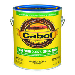 Cabot  Semi-Solid  Tintable Neutral Base  Natural Oil/Waterborne Hybrid  Deck and Siding Stain  1 ga