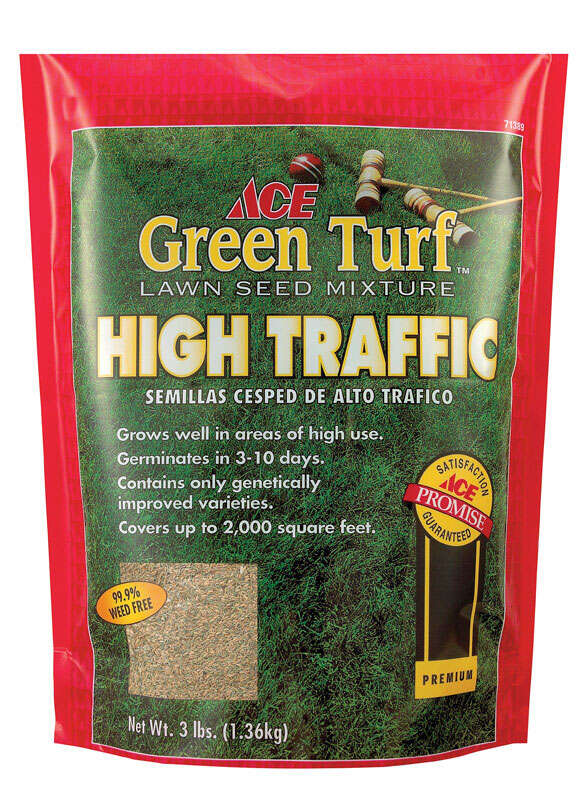 Ace  Green Turf High Traffic  Mixed  Grass Seed  3 lb.