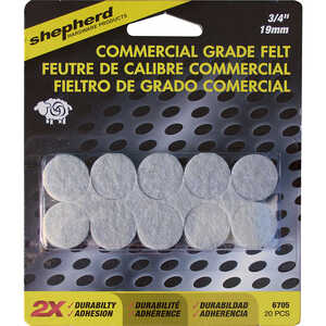 Shepherd  Felt  3/4 in. 3/4 in. W Adhesive  20 count Chair Glide