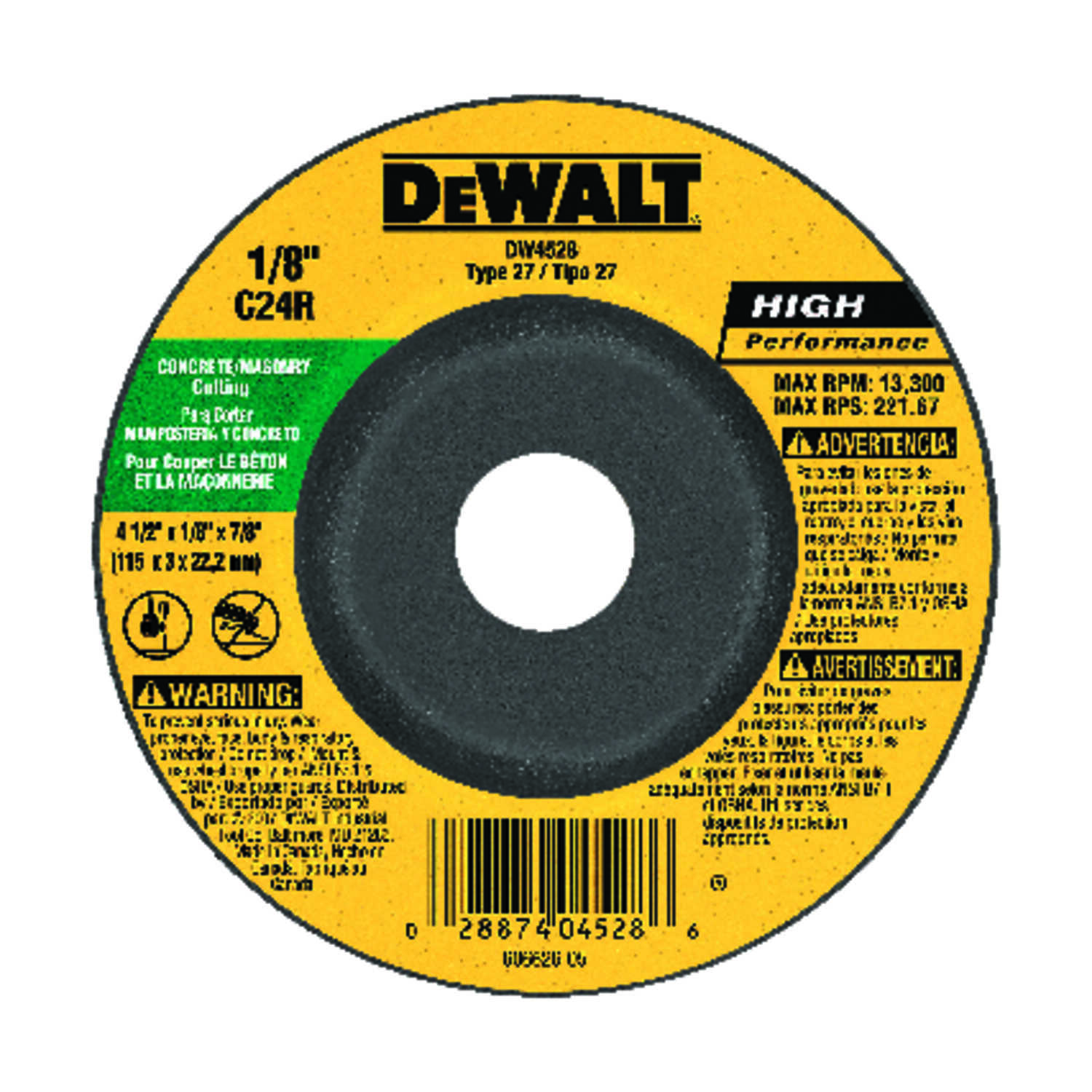 DeWalt  High Performance  4-1/2 in. 7/8 in. in.  Aluminum Oxide  Masonry Cutting Wheel  1 pc.