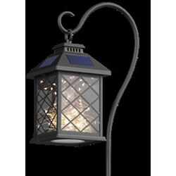 FEIT Electric Black Metal 12 in. H Square Coach Lantern Solar Garden Stake