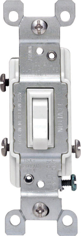 Leviton  15 amps Toggle  1 pk White  Switch