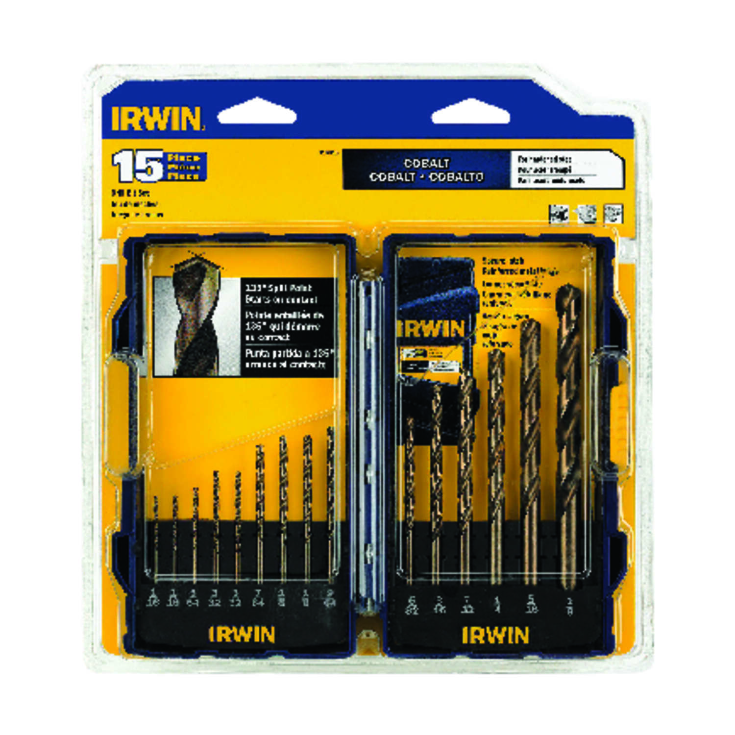 Irwin  Cobalt Steel  Drill Bit Set  15 pc.