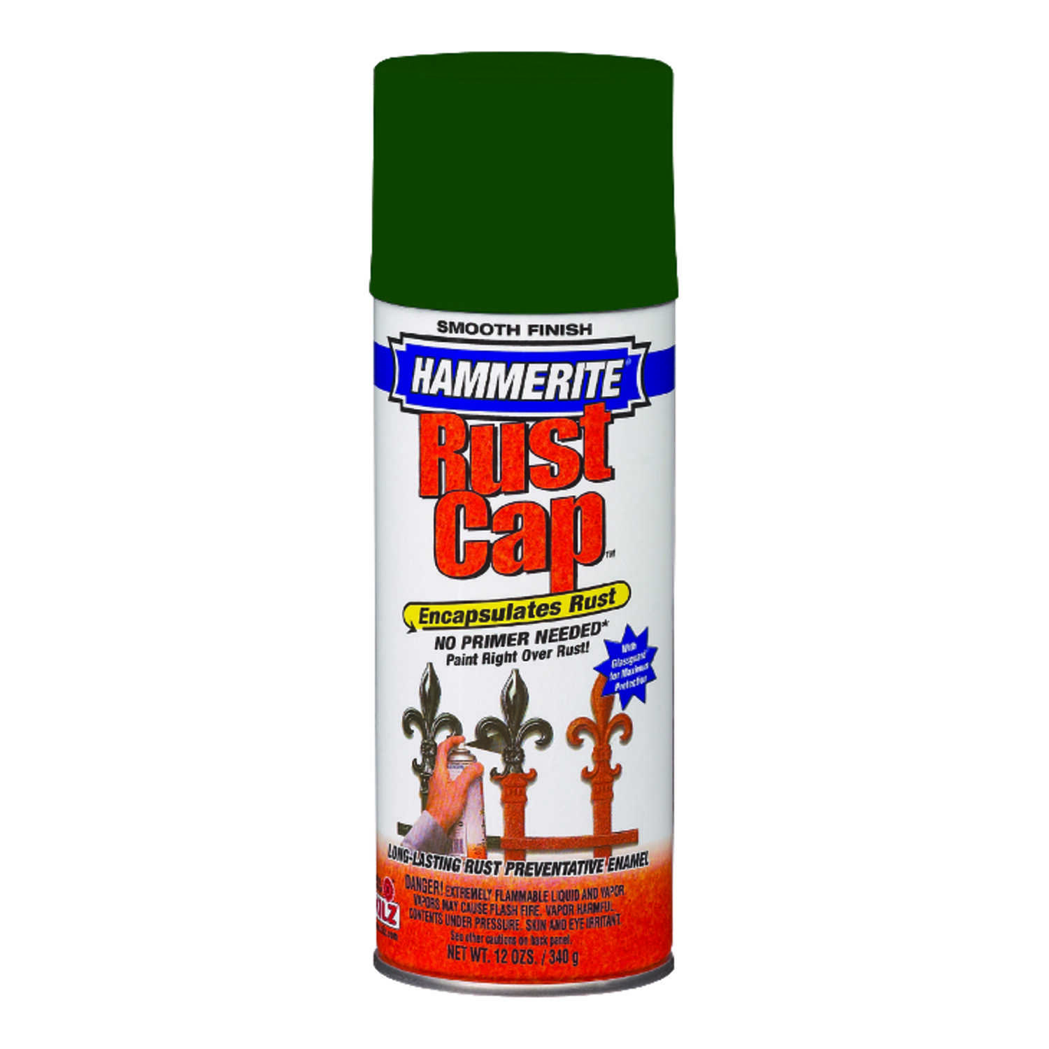 Hammerite  Rust Cap  Smooth Enamel Finish Spray  12 oz. Dark Green