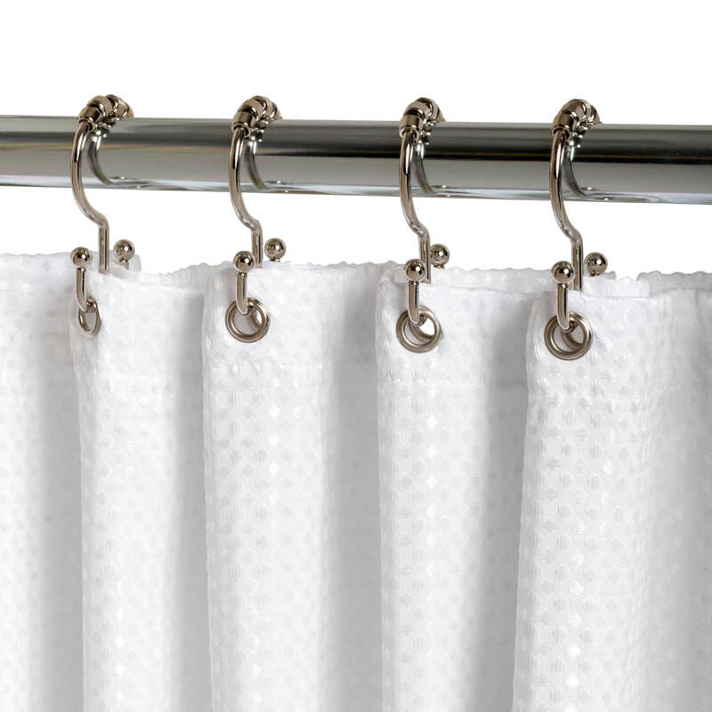 Zenna Home  Chrome  Double Roller  Shower Curtain Rings  Metal  12 pk