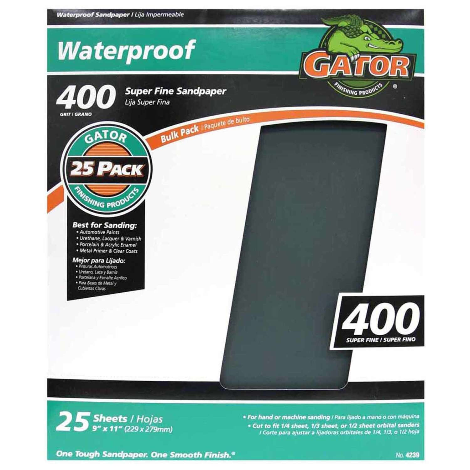 Gator  11 in. L x 9 in. W Very Fine  Silicon Carbide  Waterproof Sandpaper  1 sheet 400 Grit