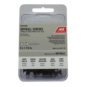 Ace  No. 6   x 1-1/2 in. L Phillips  Black Phosphate  Drywall Screws  100 pk