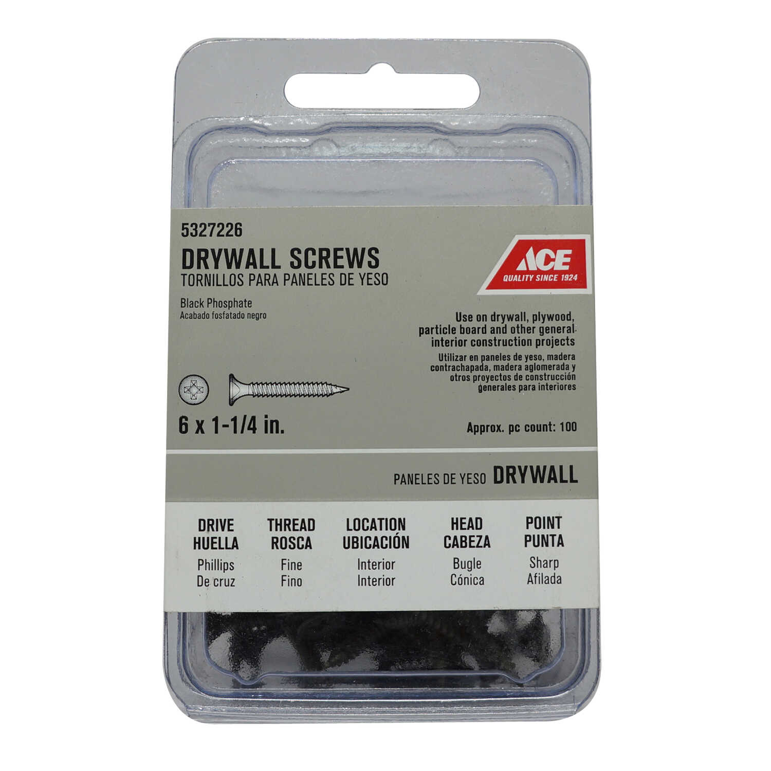 Ace  No. 6   x 1-1/2 in. L Phillips  Bugle Head Black Phosphate  Steel  Drywall Screws  100 pk