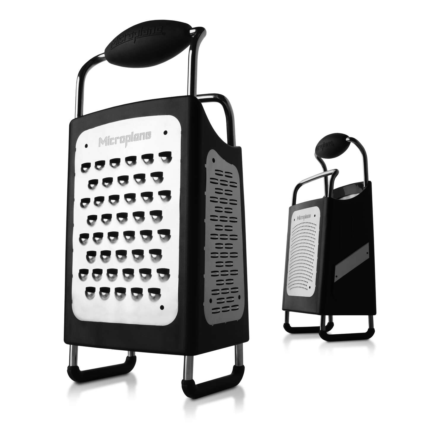 Microplane  4-5/8 in. W x 10-1/2 in. L Black  Plastic/Stainless Steel  4 Sided Box Grater