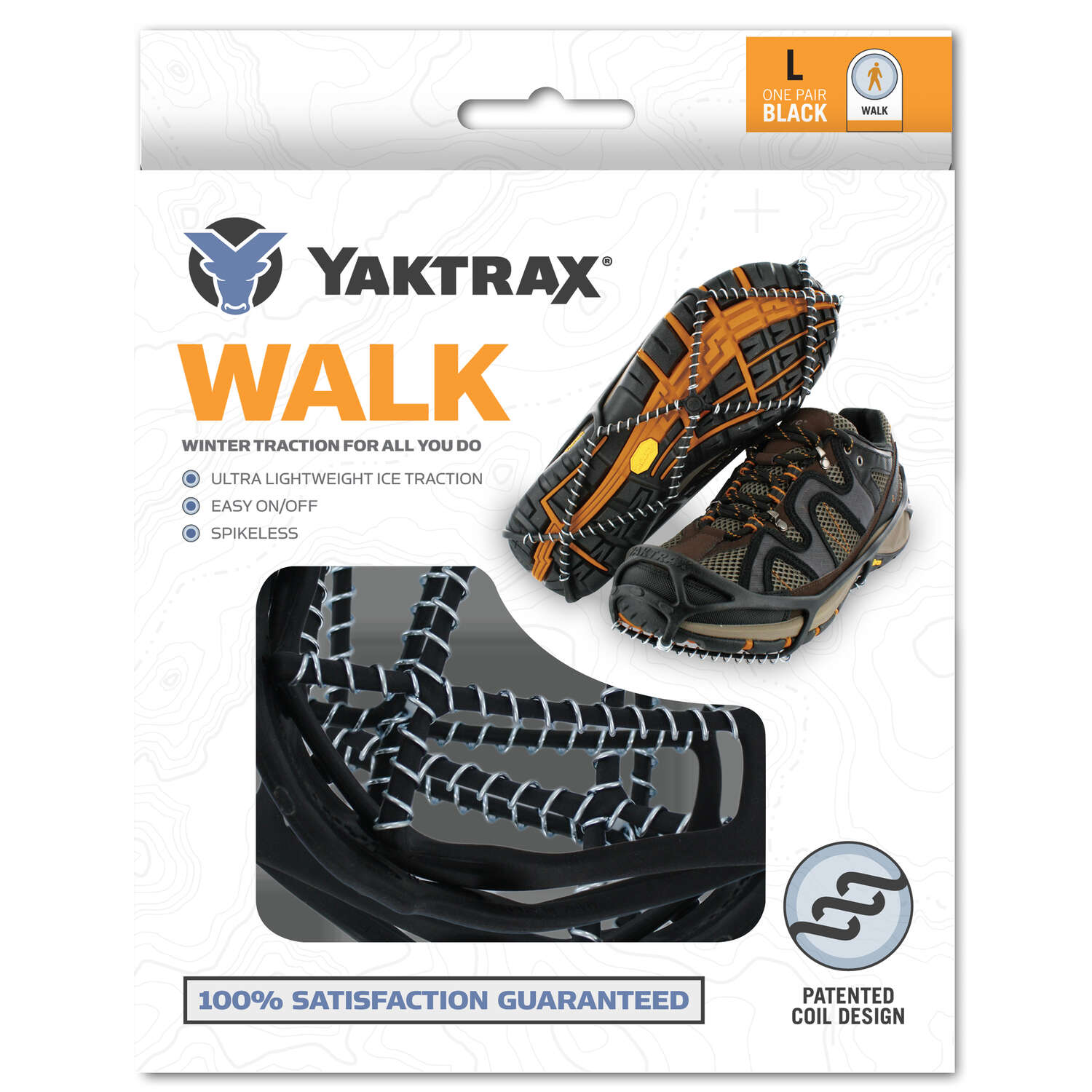 Yaktrax  WALK  Unisex  Poly Elastomer Blend/Steel  Traction Device  Black  W 10.5-12.5/M 9-11  1 pai