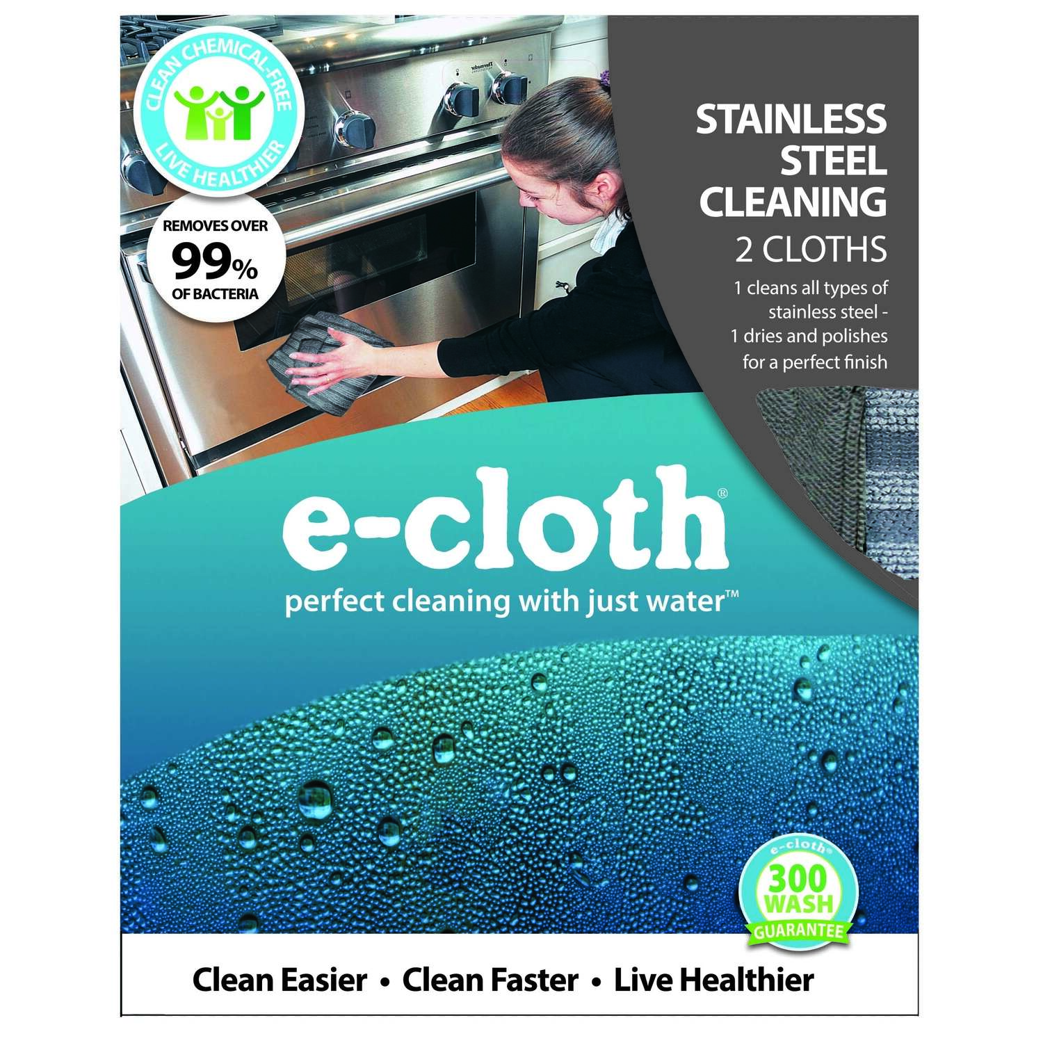 E-Cloth  Stainless Steel  Polyamide/Polyester  Cleaning Cloth  12-1/2 in. W x 12-1/2 in. L 2 pk