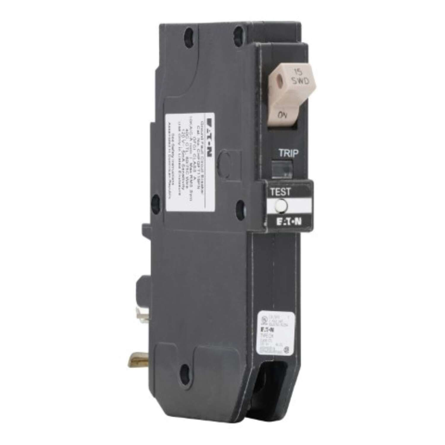 Eaton  15 amps Ground Fault  Single Pole  Circuit Breaker