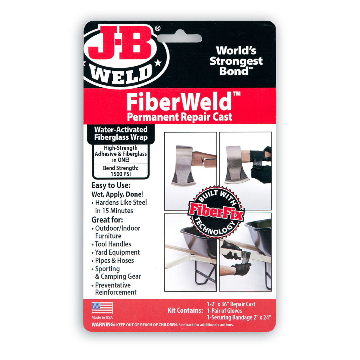 J-B Weld  FiberWeld  High Strength  Epoxy Adhesive  Permanent Fabric Adhesive  1 pc.