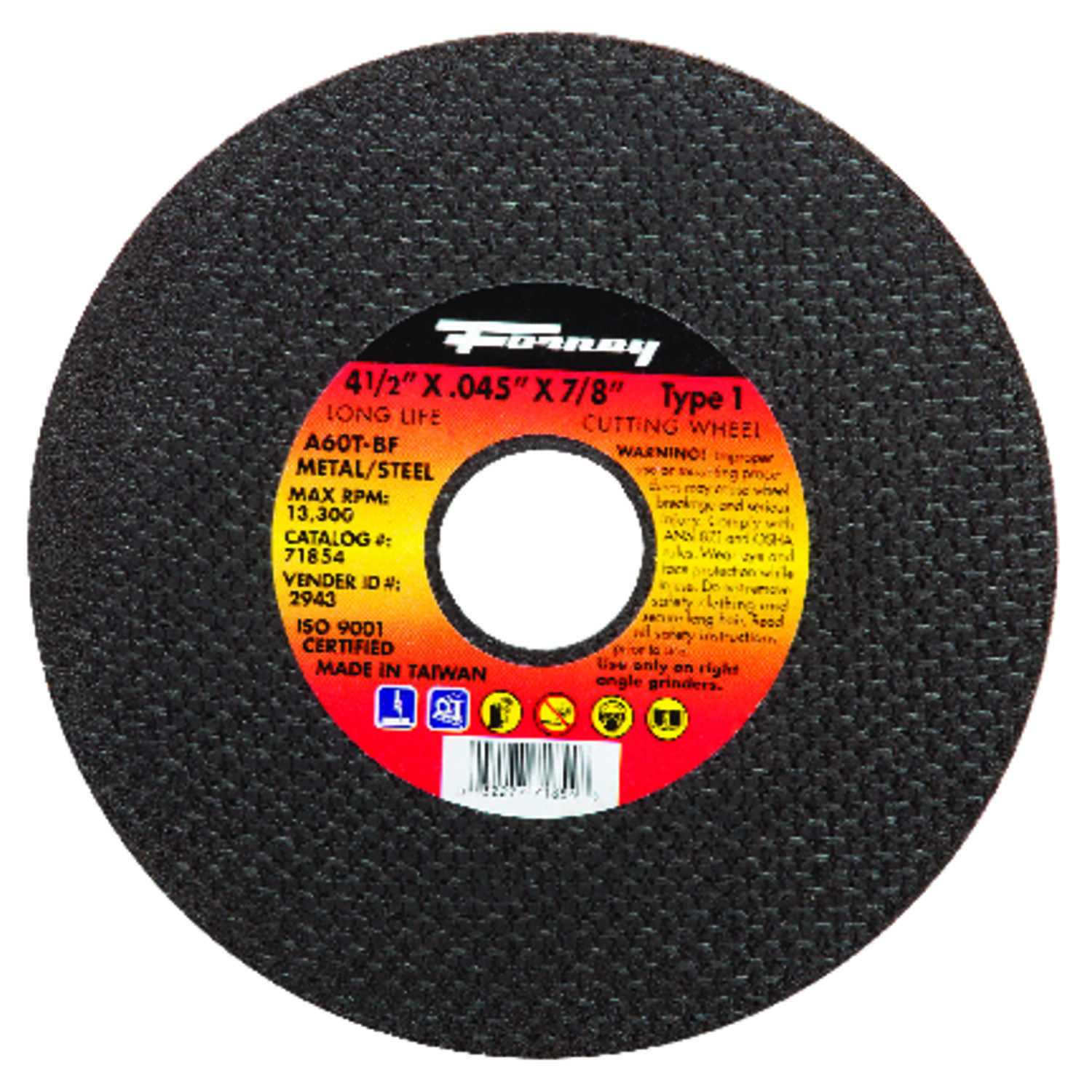 Forney  4-1/2 in. 7/8 in.  x .045 in.  Aluminum Oxide  Metal Cut-Off Wheel  1 pc.