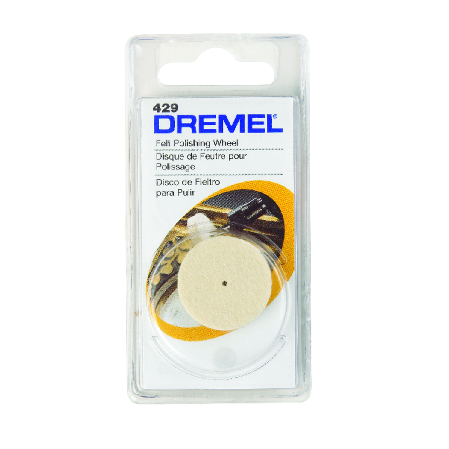 Dremel  1   x 1 in. L x 1 in. Dia. Felt  Felt Polishing Wheel  1 pk