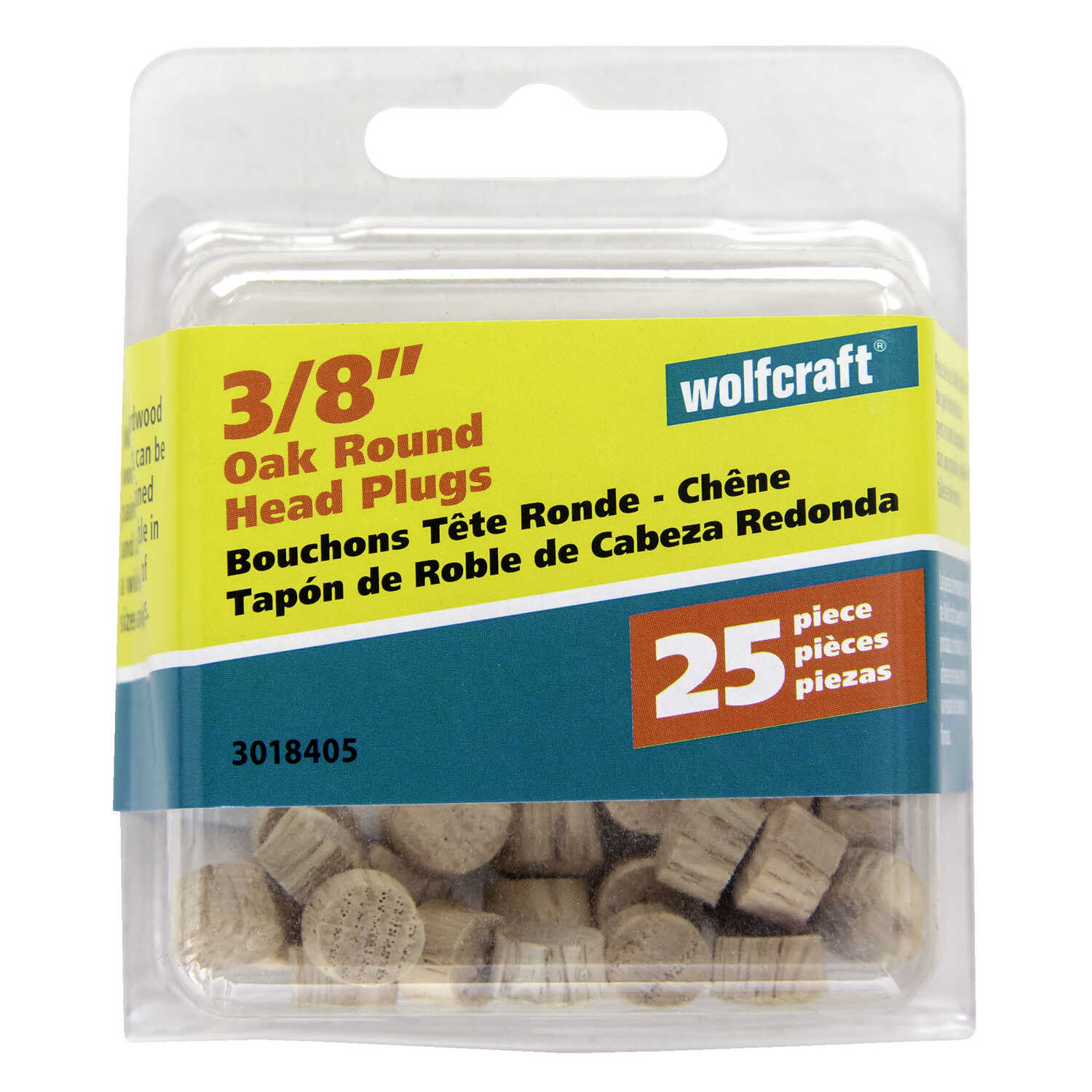 Wolfcraft  Round  Oak  Head Plug  3/8 in. Dia. x 1/4 in. L 25 pk Natural