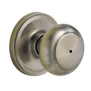 Weiser  Troy  Satin Nickel  Steel  ANSI/BHMA Grade 2  1-3/4 in. Privacy Lockset
