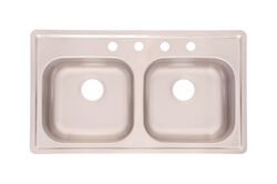 Kindred  Stainless Steel  Top Mount  33 in. W x 19 in. L Two Bowls  Kitchen Sink