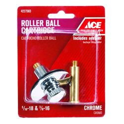 Ace  Multi-Size in. Dia. Polished Chrome  Brass  Roller Ball Assembly