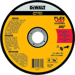 DeWalt  FlexVolt  6 in. Dia. x 7/8 in.  Ceramic  Metal Cutting Wheel  1 pc.