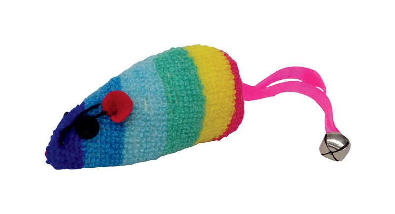 Scruffys  Rainbow Mouse  Multicolored  Catnip Toy  Large  Fleece