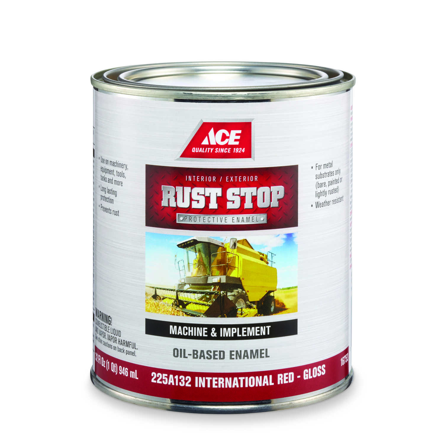 Ace  Rust Stop  Indoor and Outdoor  Gloss  International Red  Rust Prevention Paint  1 qt.