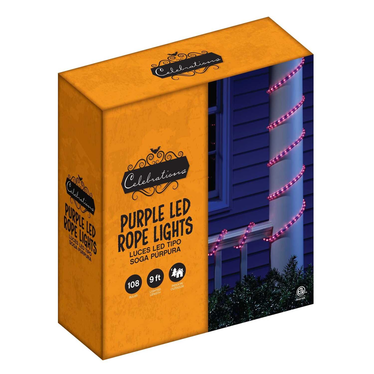 Celebrations  LED Rope  Lighted Purple  Halloween Lights  .5 in. H x 13 M W x 216 in. L 1 pk