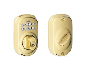Schlage  Bright Brass  Steel  Electronic Deadbolt