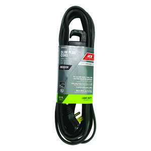 Ace  Indoor  12 ft. L Black  Extension Cord  16/3 STP-3