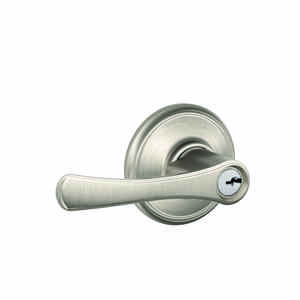 Schlage  Avila  Satin Nickel  Entry Lever  Grade 2  1-3/4 in.