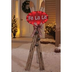Celebrations  Skis/Fa La La  Outdoor Decor  Brown  Wood  1 pk