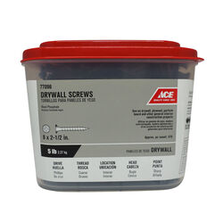 Ace  No. 8   x 2-1/2 in. L Phillips  Drywall Screws  5 lb. 560 pk