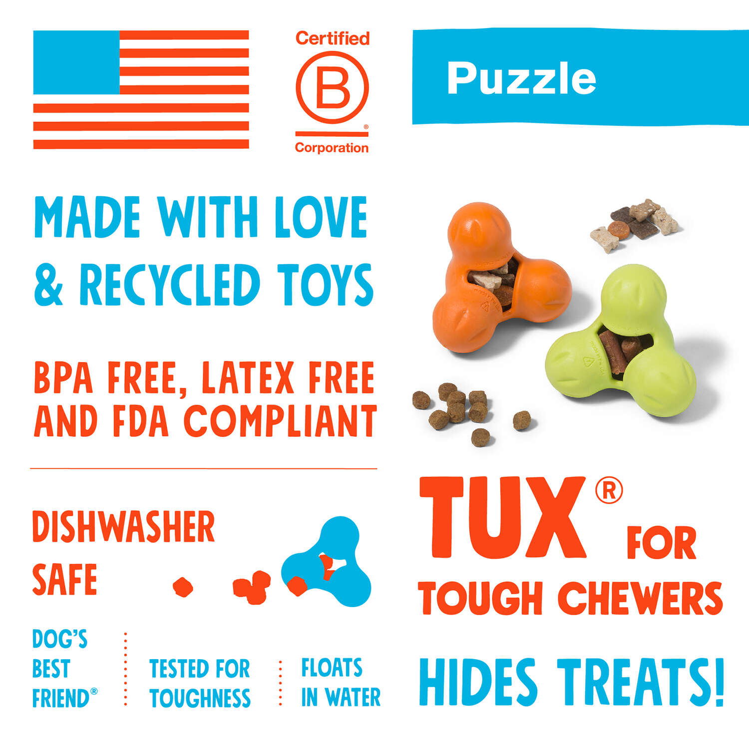 West Paw  Zogoflex  Orange  Tux Treat Toy  Synthetic Rubber  Dog Treat Toy/Dispenser  Small