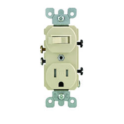 Leviton  15 amps 125 volt Ivory  Combination Switch/Outlet  5-15R