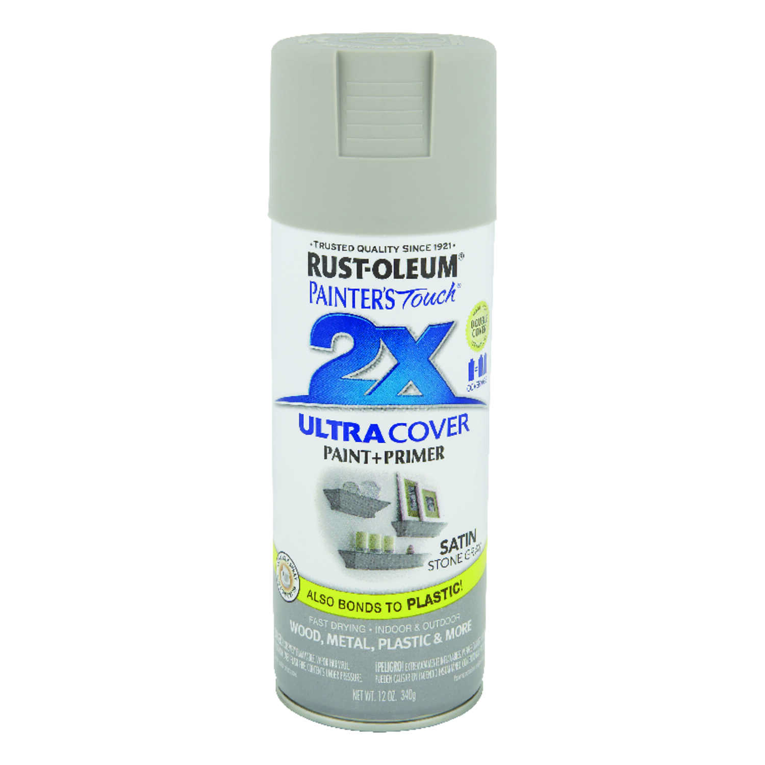 Rust-Oleum  Painter's Touch Ultra Cover  Satin  Stone Gray  Spray Paint  12 oz.