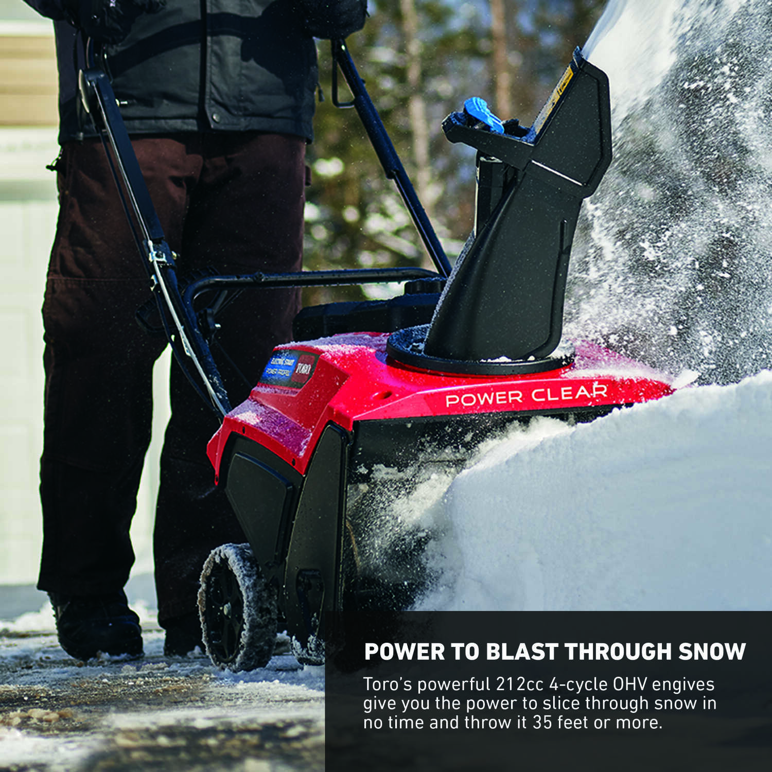 Toro  Power Clear  21 in. W 212 cc Single-Stage  Recoil Start  Gas  Snow Thrower