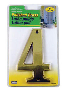 Hy-Ko  5 in. Gold  Brass  Number  4  Nail-On  1 pc.