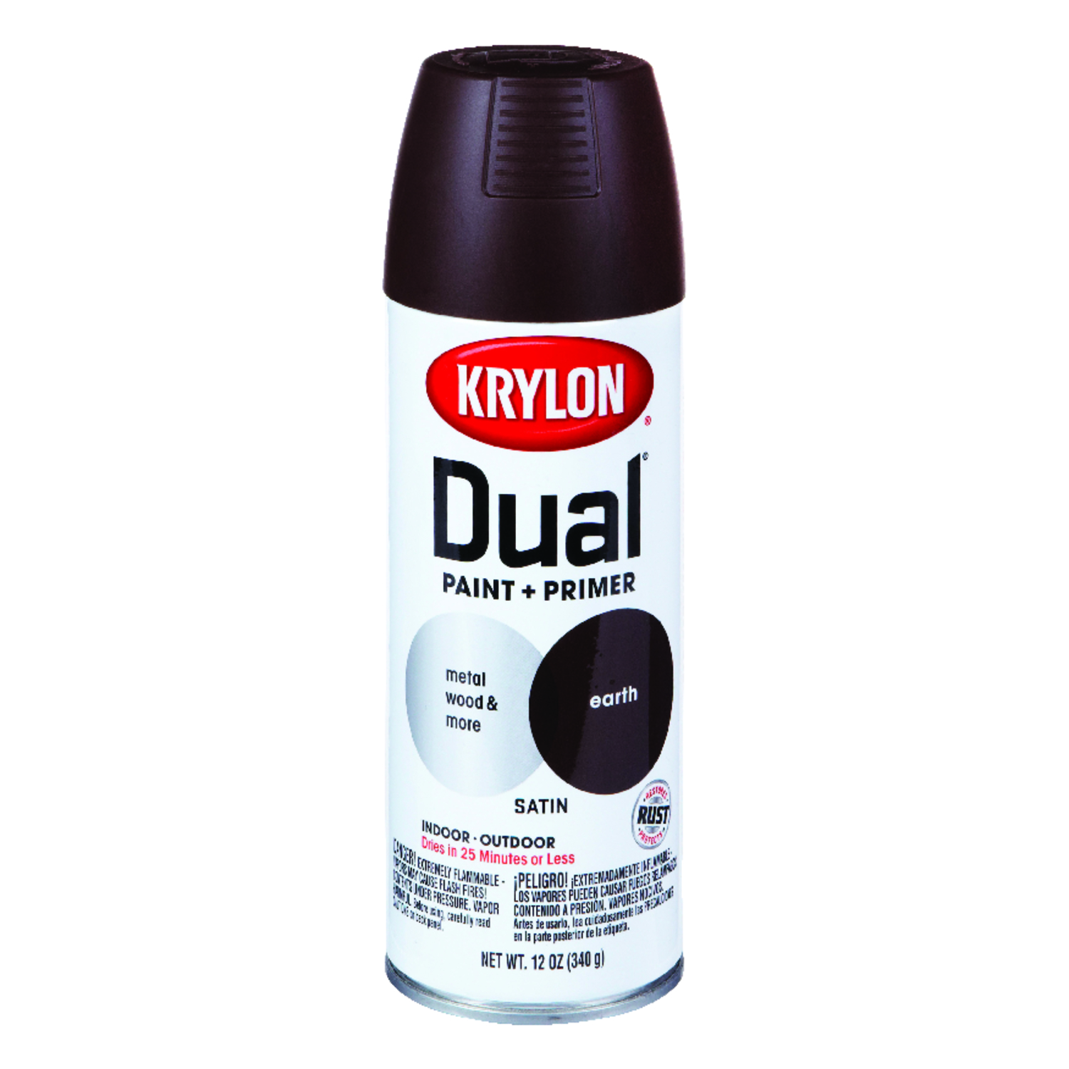 Krylon  Dual Superbond  Satin  Earth  Paint + Primer Spray  12 oz.