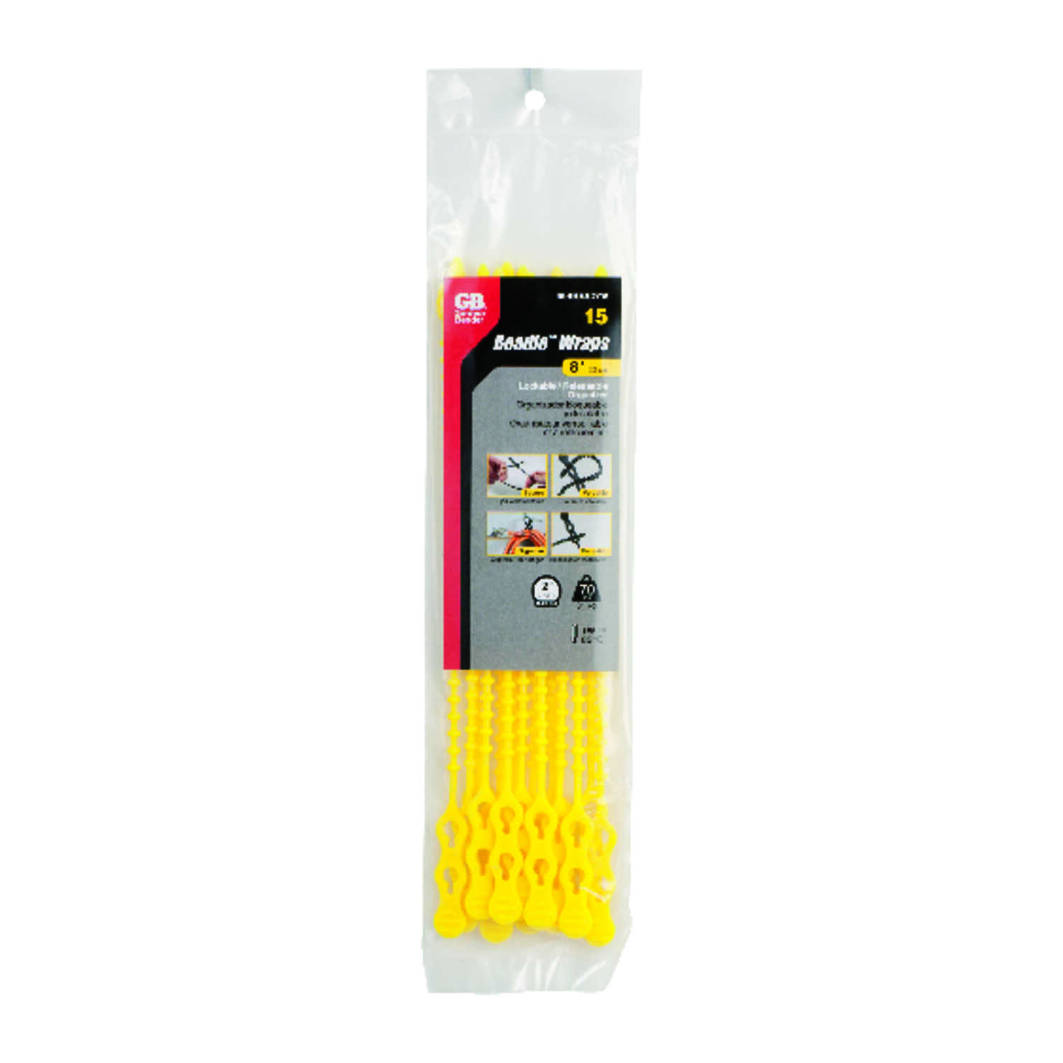 Gardner Bender  8 in. L Yellow  Beaded Cable Tie  15 pk
