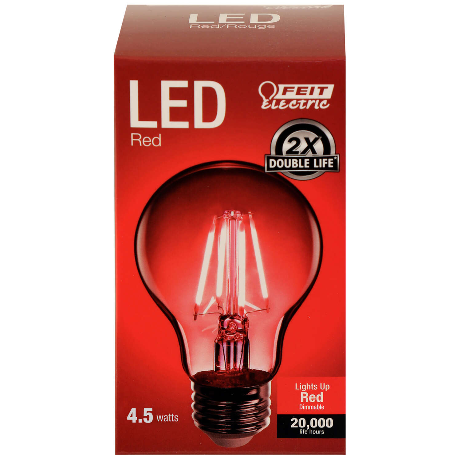 Feit Electric  Filament  A19  E26 (Medium)  LED Bulb  Red  30 Watt Equivalence 1 pk